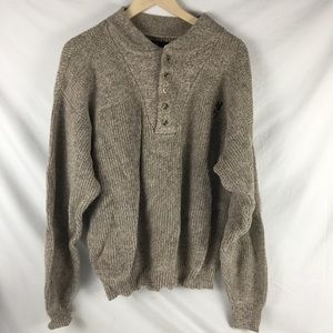 Browning Mens Large Sweater Mock Neck Buttons Knit